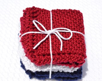 Set of Handmade 100% Cotton Dishcloths / Washcloths