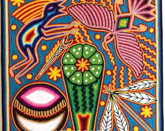 """12"""" Huichol painting, Mexican wall art, Mexican decor, Native art, Mexican folk art, Huichol art, Mexican painting, Mexican art, 30-005 Y"""