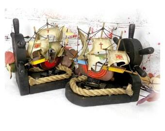 Ship book ends - nautical book ends  - man cave book ends - boar bookends - tall ship home decor - nautical home decor - pirate ship - # 75