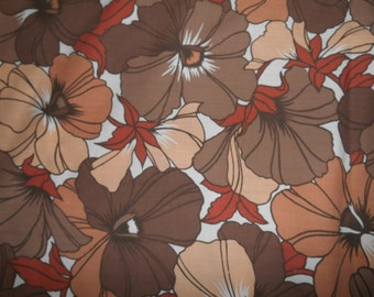 Vintage Retro 1970s Brown White & Copper Floral Flower Pattern Double Flat Sheet By Dorma (Bedroom Bed Bedding)