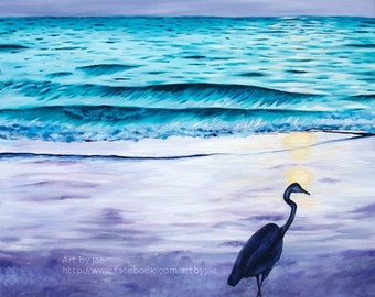 Print Blue Heron on Beach Art Small Wall Art 8x10