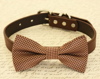 Brown Dog Bow Tie collar, Pet wedding accessory, Handmade Gifts