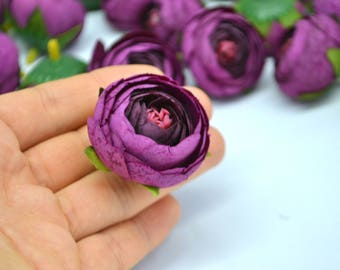 Purple flower Fake flowers Artificial ranunculus Boho flowers Fabric flowers Flower heads Bridal flowers Faux flowers Wedding decor