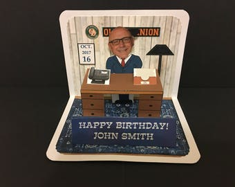 Boss or co-worker Birthday Pop Up Card with Bobblehead!