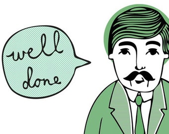 Wes Says Greeting Card - Well Done (green)