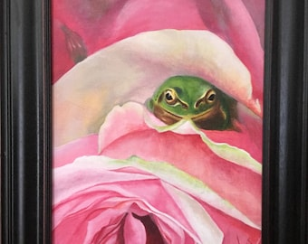 Hidden Away 11x14 original acrylic frog pink rose