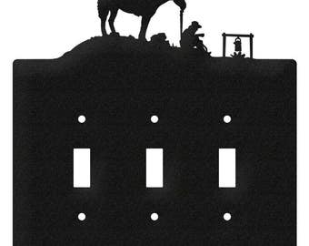 Coffee Break Horse Cowboy Light Switch Triple Plate Cover