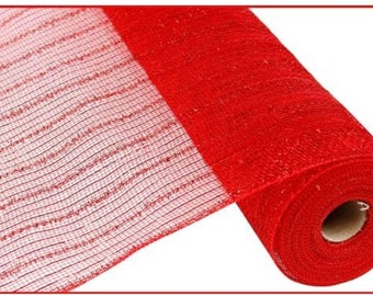 """21"""" Red Tinsel Foil Deco Mesh RY940024, Red Metallic Tinsel Mesh RY940024,  Red Metallic Deco Poly Mesh RY940024"""
