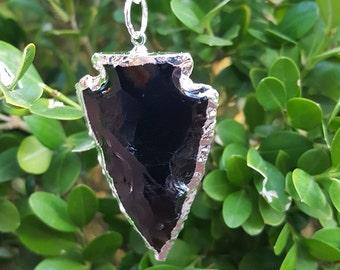 "Black Obsidian Arrowhead Pendant with 24"" Chain, Black Obsidian Necklace"