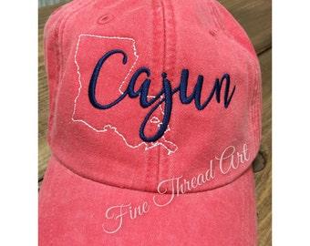 LADIES Louisiana Cajun State Baseball Cap Hat LEATHER strap Monogram Preppy Bachelorette Pigment Dyed Acadiana South Southern