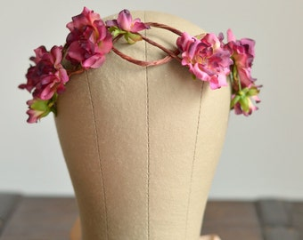 Bridal flower crown, rose crown, flower headpiece, floral headband, wedding hair accessories - Freya