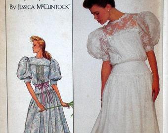 Vintage Gunne Sax Dress Pattern Edwardian Style Dress Simplicity 8610 Bust 32.5 Factory Folded Puff Sleeves