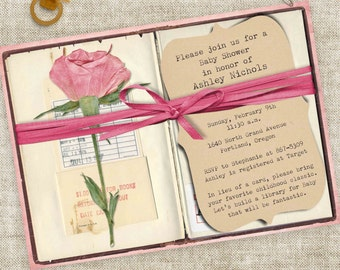 Book Baby Shower for Baby Girl Library Book with Pink Rose and Ribbon Digital Printable File with Professional Printing Option