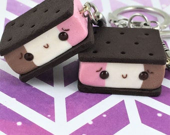Polymer Clay Ice Cream Sandwich Charms, Polymer Clay Jewelry, Neapolitan Ice Cream Sandwiches, Kawaii Food, Food Keychain, Cute Gift for Her