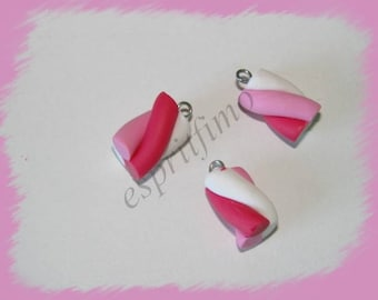 """""""Pink Marshmallow"""" charm in polymer clay"""