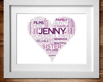 Heart – Word Art Personalised Print* A4, A3 or Digital PDF