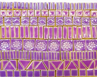 170+ Mosaic Tiles  Handmade Ceramic Crafting Tiles Stoneware Art Tiles Lilac Lavender Glazed Craft Tiles Assortment #4