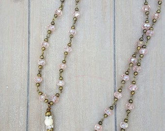 Long Boho Chic Rosary Bead Chain Necklace with Cast Antique Brass Cross
