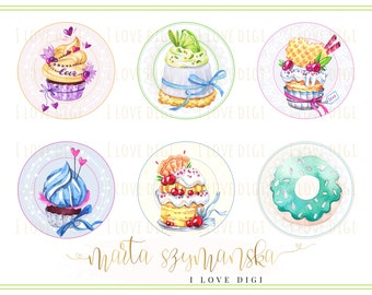 Watercolor muffins, cupcake, circle image, digital collage sheet, set of 6, full of colors