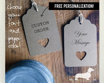 Natural Open Heart. Personalized Gift Tags (Set of 12) -- (Bridal Shower, Wedding Favors, Choose Your Color, Rustic, Custom Tags, Rustic)