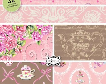 two pockets 15.2 32 papers x 15.2 cm CRAFT EMOTIONS HIGH TEA ROSE