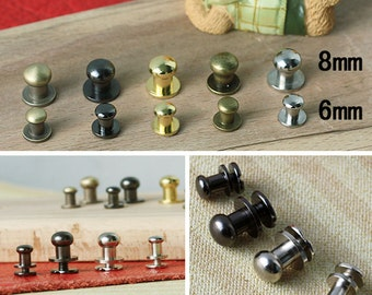 10 Metal Rivet Stud, Round Head Screw Back Stud - 6mm x 8mm For Leather Crafts. (RR013-6)