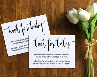 Book for Baby Card Template, Baby Shower Registry Card, Baby Shower Invitation, Book for Baby Card Printable, PDF, Calligraphy, PPS08
