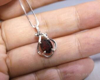 Garnet Necklace, Red Garnet, Sterling Silver Garnet Necklace, January Birthstone, Minimalist Necklace,   Dainty Silver Flower Necklace