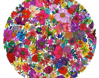 Vintage Petals // Limited Edition Giclée Print // Illustration