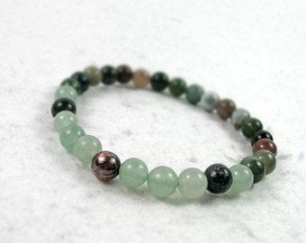 Fancy Jasper & Aventurine Bracelet, Chakra Bracelet, Yoga Gift, Green Gemstone Bracelet, Stacking Bracelet, Heart Chakra Bracelet
