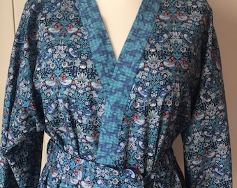 Liberty Print Cotton Robe/William Morris-Strawberry Thief in Blue