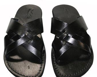 Black Capri Leather Sandals For Men & Women - Handmade Sandals, Leather Flip Flops, Jesus Sandals, Unisex Sandals, Black Leather Sandals