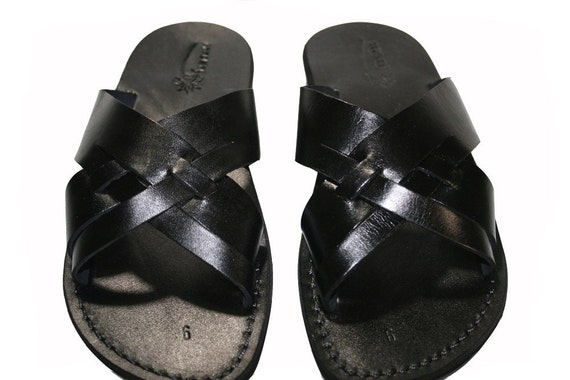 Sandals Unisex Black Leather Capri Handmade Leather Flops Men For amp; Flip Jesus Leather Sandals Sandals Sandals Women Black Sandals E6Cqq