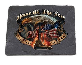 American Heroes Natural Stone Coasters - Because Of The Brave SKU: MM141-SC100
