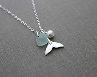 Whale tail Necklace with Genuine Sea glass and Freshwater pearl, Sterling Silver Beach Jewelry, Eco Friendly Fashion mermaid choice of color