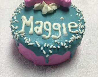 Dog cakes// soft cake for dogs in turquoise and pink