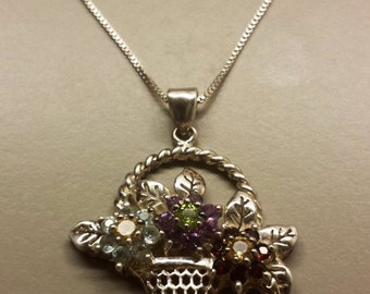 Sterling Silver .925 Necklace Neck Chain and Flower Basket Pendant With Semiprecious Stones