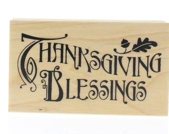 Inkadinkado Thanksgiving Blessing Card Making Wooden Rubber Stamp