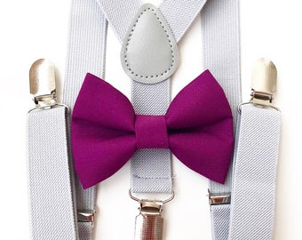 FREE DOMESTIC SHIPPING! Light gray suspenders  + orchid purple Bow tie toddler kids boy boys Adult holidays photos family photoshoot