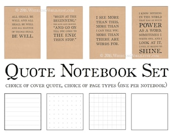 A5 Bullet Journal Notebook Set | Literary Gift for Writer, Literature Quotation Typography | Kraft Writing Book Gift Set | Recycled Paper |