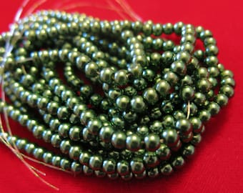 """200pc """"olive green"""" imitation pearl spacer bead string (BC1192)"""