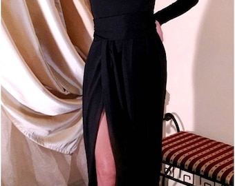 Black Maxi Dress V-Neck High Slit Long Sleeves Sash