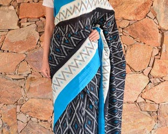 Blue And Black Ikat Sarees