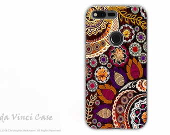 Fall Paisley Google Pixel XL Tough Case - Dual Layer Protection - Autumn Mehndi - Protective Dual Layer Pixel XL Case