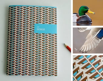 A5 Animal Notebook / Plan / Goals / Bird / high / blue
