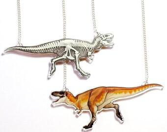 Double face collier acrylique Tyrannosaurus