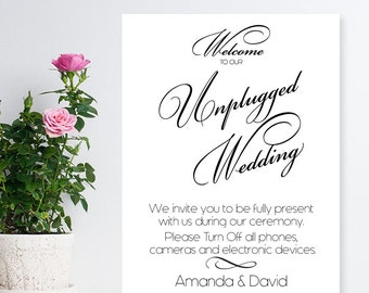 Unplugged Wedding Personalized White Canvas Sign (PPD447)