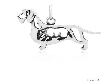 Sterling Silver Wire-haired Dachshund Pendant Body With Badger