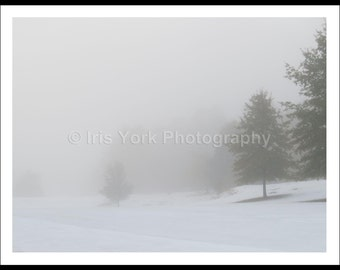 Winter Fog, Snow and Trees, Early Morning Fog, Black and White Landscape Photo, Snow Photography, Nature Print, Wall Art