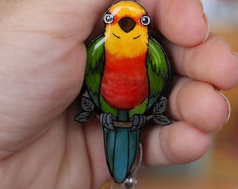 Badge holder Jenday Conure Retractable ID  for prepunch badges 33 inch cord HCA CNA Nurse Bird lover gift